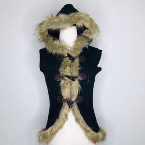 Mudd Hooded Vest Sweater with Faux Fur Trim